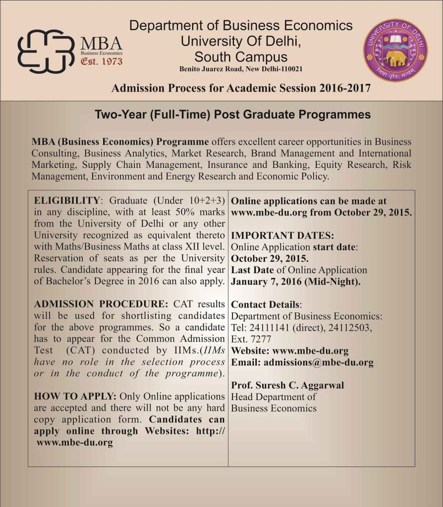 Delhi University (DU) MBA admission